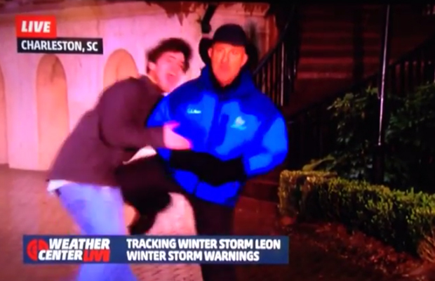 Video: Jim Cantore nails college kid