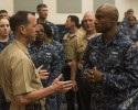 150922-N-KE519-057 NORFOLK, Va. (Sept. 22, 2015) - Chief of Naval Operations (CNO) Adm. John Richardson speaks with Sailors after an all-hands call at Naval Station Norfolk. Richardson spent the day conducting his first series of all-hands calls as CNO with Sailors in the Hampton Roads area. (U.S. Navy photo by Mass Communication Specialist 2nd Class Edward Guttierrez III/Released)