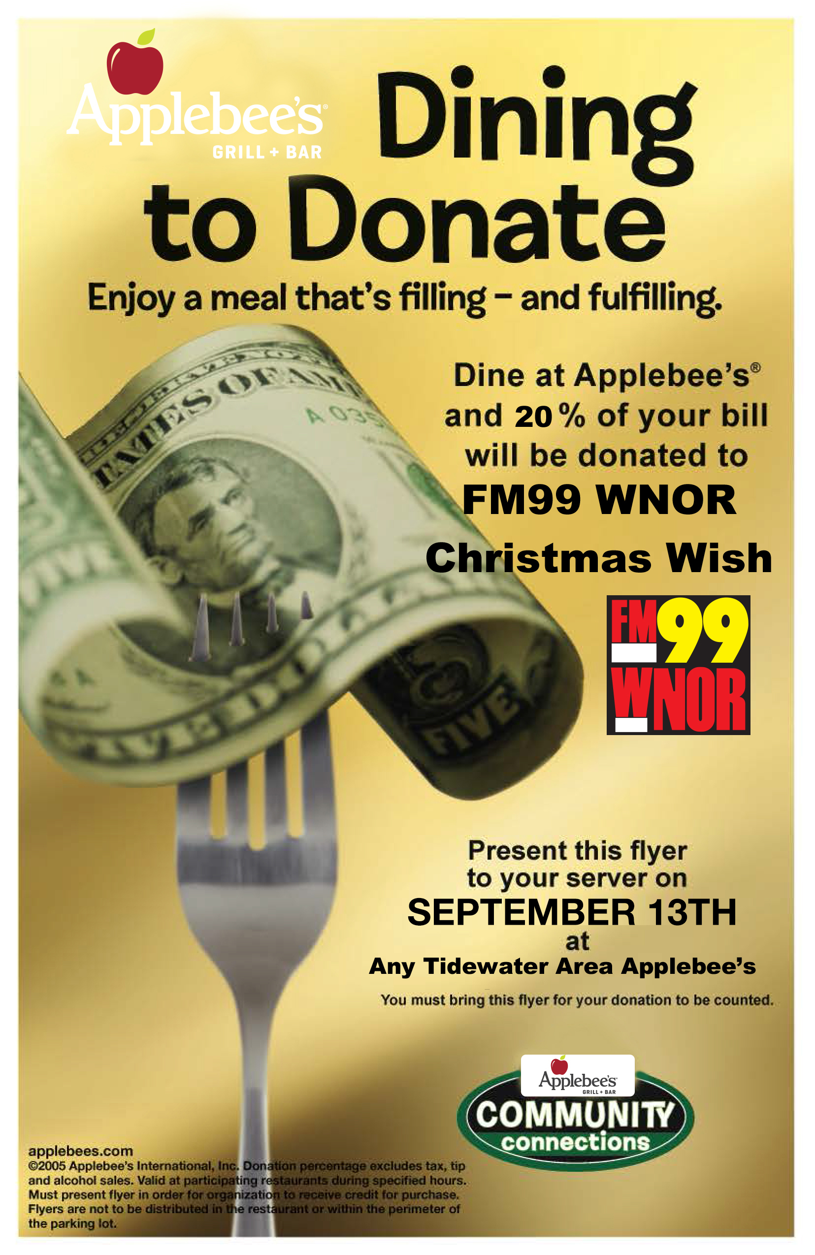 Dining to Donate Flyer  Color | WNOR FM99